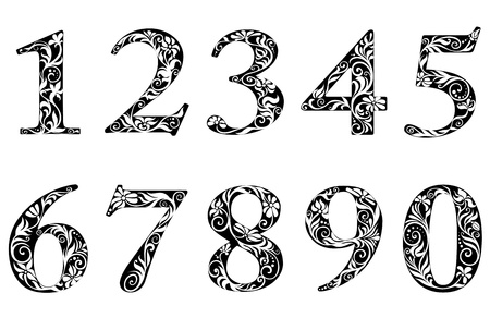 number three: Digits and numbers set with floral elements in retro style Illustration