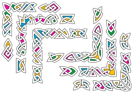Celtic ornament patterns set with colorful elements for design Stock Vector - 18235319
