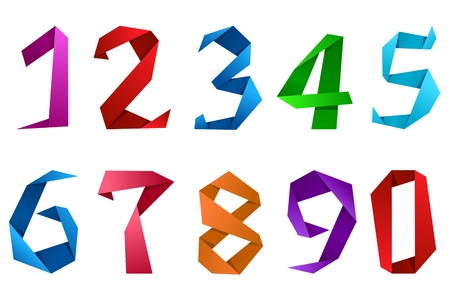number two: Colorful digits and numbers in origami paper style