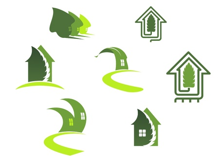 Green ecological symbols with leaves and houses Vector