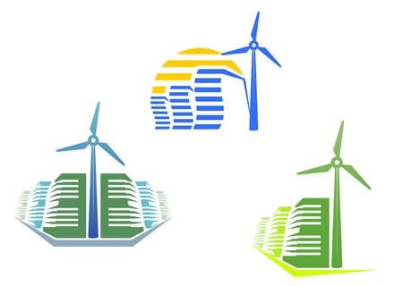 Houses with wind turbines for modern ecological design Vector
