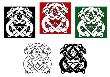 celtico: Cani celtiche e lupi modello con elementi ornamentali