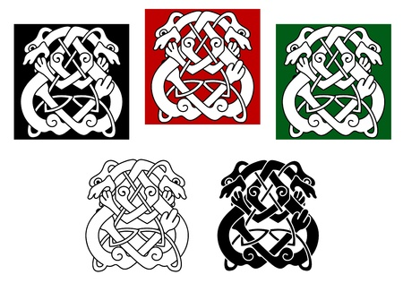 celtic culture: Celtic dogs and wolves pattern with ornamental elements Illustration