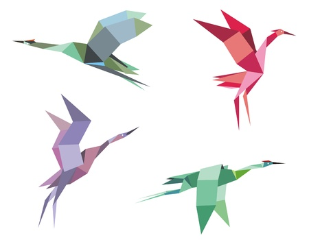 origami paper: Cranes and herons birds in origami paper style for ecological or another design