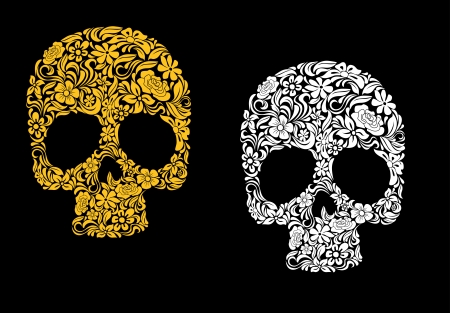 halloween skeleton: Floral skull in retro style for ecology concept design