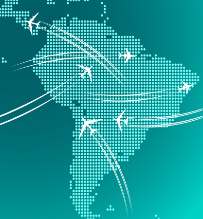Map of South America with trace of airplanes for any travel industry design Vector