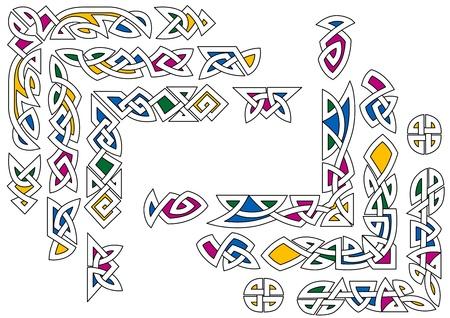 celtico: Ornamento celtico con elementi decorativi colorati e modelli Vettoriali