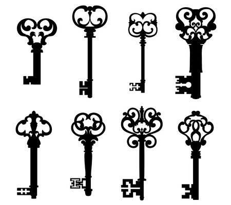 Old keys set with decorative elements in retro style Vector