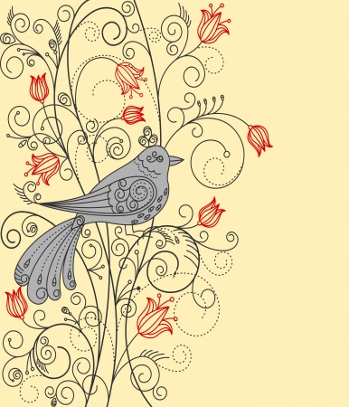 Abstract floral background with beautiful bird for greeting card or textile design Vector