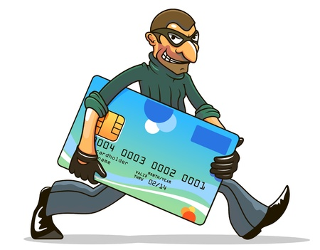 robbery: Hacker or thief stealing credit card for internet security and banking concept design