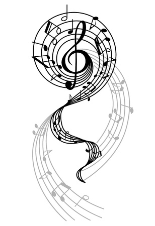 Abstract musical swirl with notes and sounds for art design Vector
