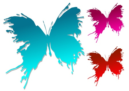 Colourful butterfly blots isolated on white background Vector