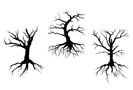 bare trees: Dead trees with stem and roots isolated on white background for ecology concept design Illustration