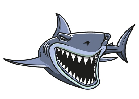 bites: Angry danger shark in cartoon style for mascot design