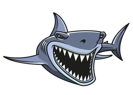 shark teeth: Peligro tibur�n enojado en estilo de la historieta para el dise�o de la mascota