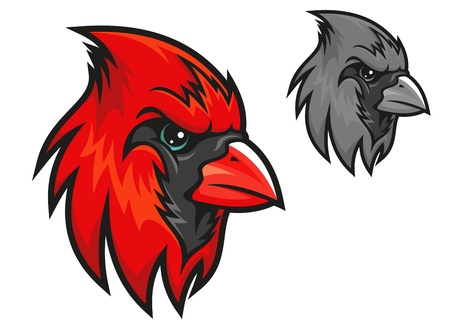 mascots: Red cardinal bird in cartoon style for mascot symbol design