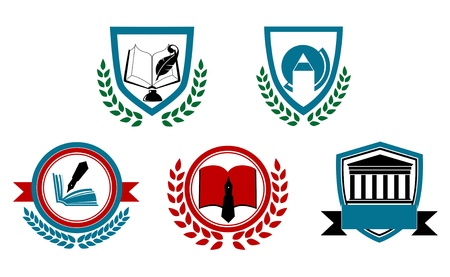 Set of abstract university or college symbols for heraldry design Vector