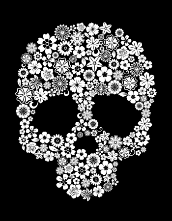 skull tattoo: Human skull in floral style for ecology concept design Illustration