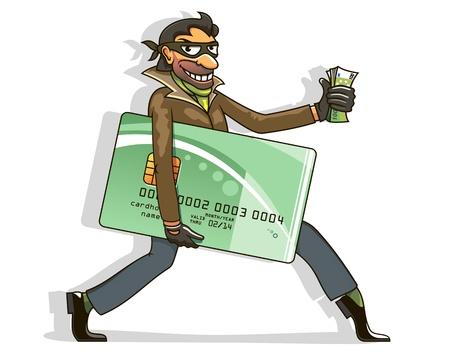 Dief steelt creditcard en geld. illustratie in cartoon stijl