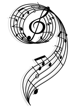 Musical curly elements with clef and notes. illustration for art and entertainment background Vector
