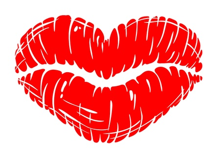Red sexually lips print in heart shape. illustration for love and sensuality concept design Vector