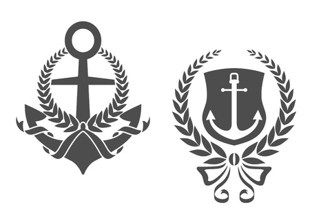 an anchor: Marine anchors with ribbons and laurel wreathes for heraldry design