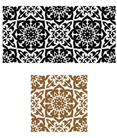 ペルシア: 背景デザインのレトロなスタイルでアラビア語のシームレスな飾り  イラスト・ベクター素材