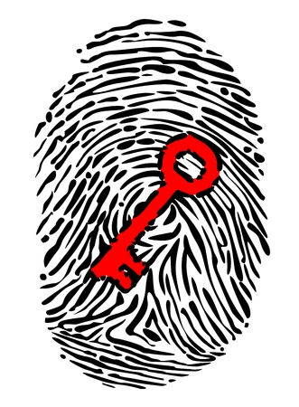 Fingerprint and key for security or identity system concept design Vector