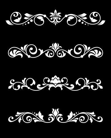 ornamental scroll: Set of retro borders and dividers in floral style