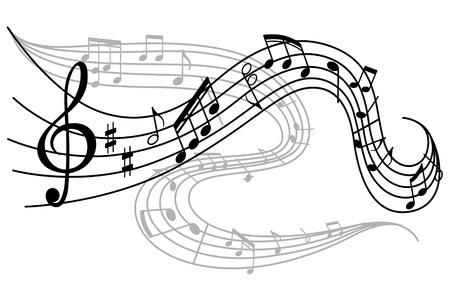 Arte del fondo con olas de notas musicales