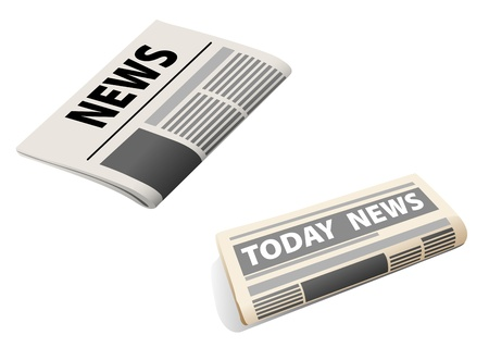 Two realistic newspaper icons isolated on white background Stock Vector - 18870732