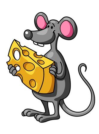 raton caricatura: Ratón divertido de la historieta con el pedazo de queso sabroso