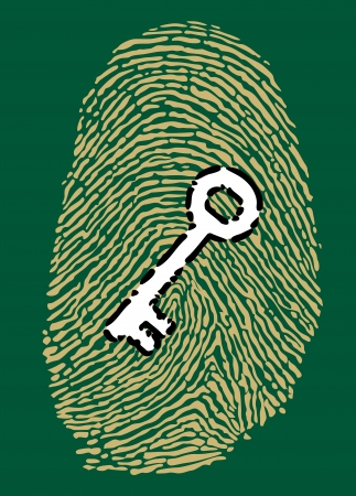 Fingerprint in motherboard style and security key Vector