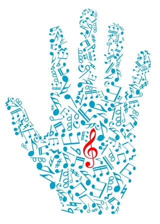 Human hand with musical notes and elements for art design Vector