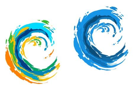 Deux vagues colorées pour Serfing sport ou une autre conception de