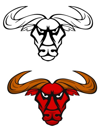Attack bull head for team mascot or emblem design Vector