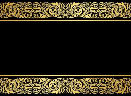gild: Bordo floreale con elementi dorati in stile retr� per il design abbellimento