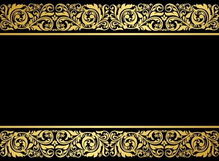 ancient: Floral border with gilded elements in retro style for embellishment design