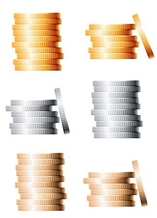 gold treasure: Bronze, silver and gold stacks of coins isolated on white background Illustration