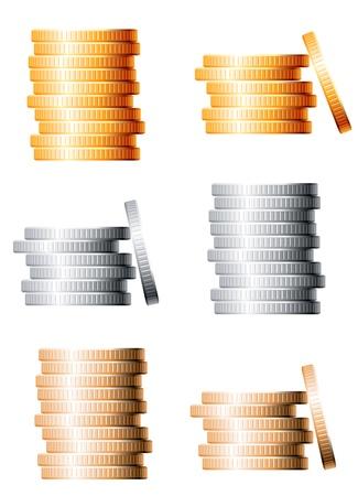 apilar: Pilas de bronce, plata y oro de las monedas aisladas sobre fondo blanco Vectores