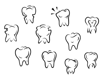 Set of health and illness teeth isolated on white background Vector
