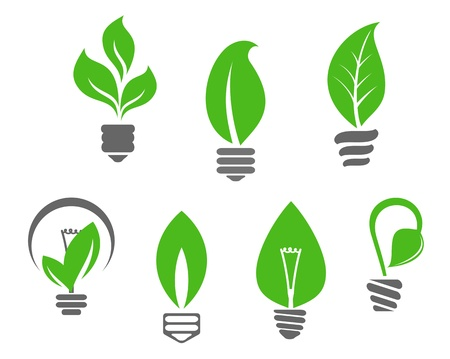 saplings: Ecology concept - symbols of light bulbs with green leaves