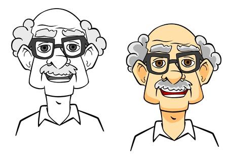 health elderly: Smiling senior man. Portrait of cartoon elder people Illustration