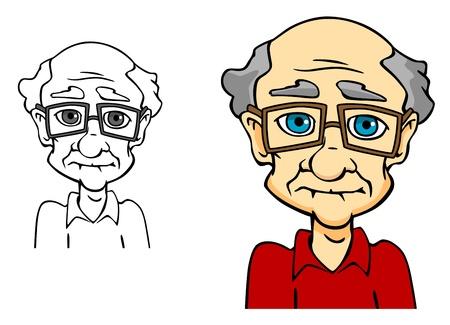Aged senior man. Portrait of elder people in cartoon style Illustration