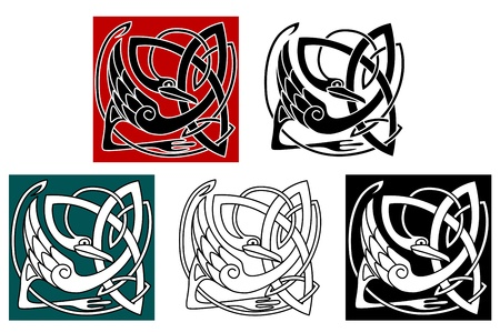 irish culture: Stork bird in celtic ornament for embellishment or ethnic design Illustration