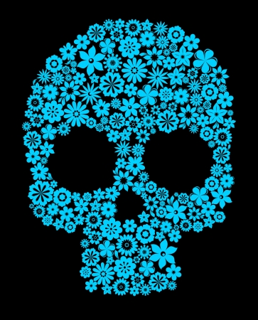 death symbol: Human skull with flower elements for religion or halloween design Illustration