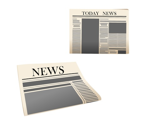 news current events: Newspaper icons with detailed elements isolated on white background
