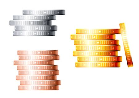 silver coins: Stacks of golden, silver and bronze coins isolated on white background for finance concept design Illustration