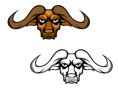 strong bull: Buffalo or bull head with long hornes for mascot design