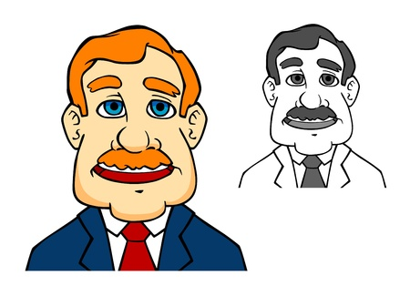 Happiness businessman in cartoon style says a speech Vector